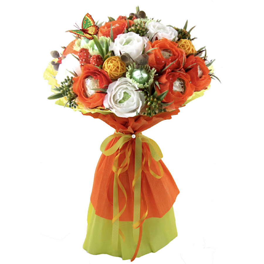 Orange candy bouquet with Lindt Lindor Truffles chocolate