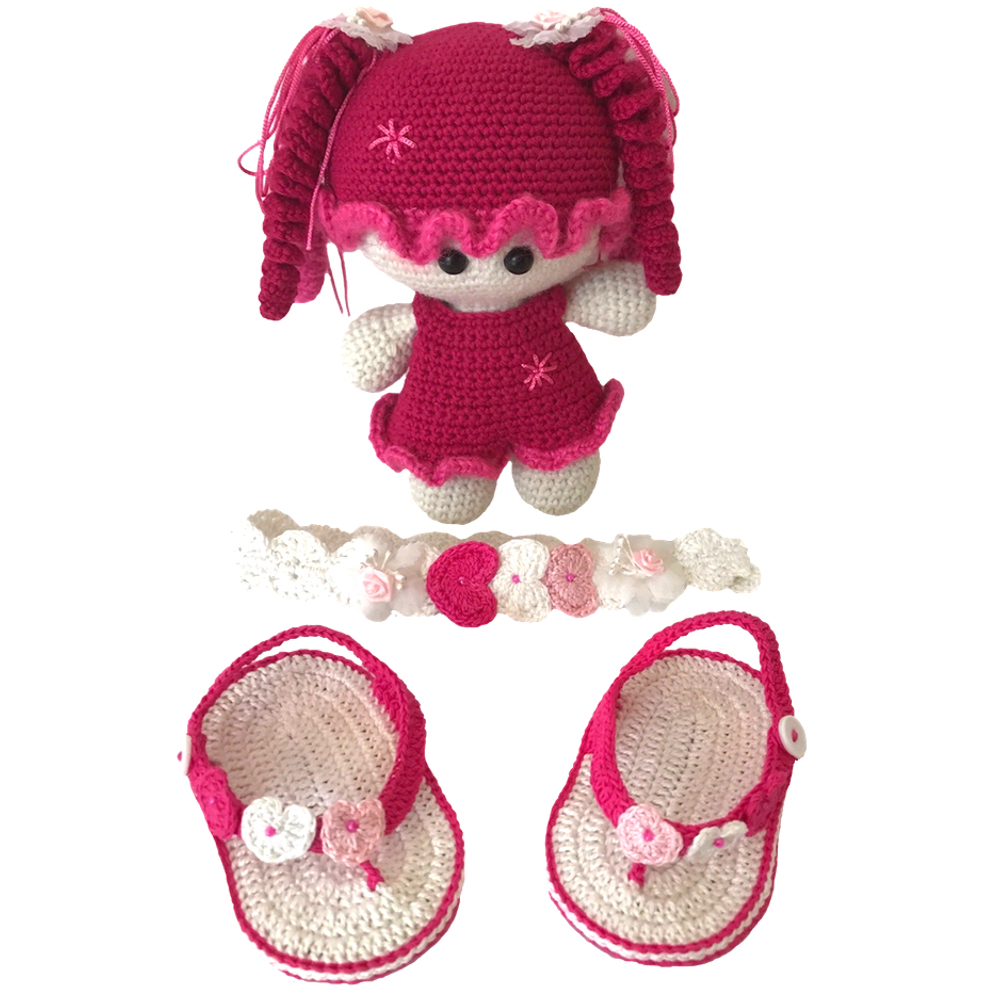 Newborn Baby Girl Crochet Handmade Set With A Matching Toy Doll