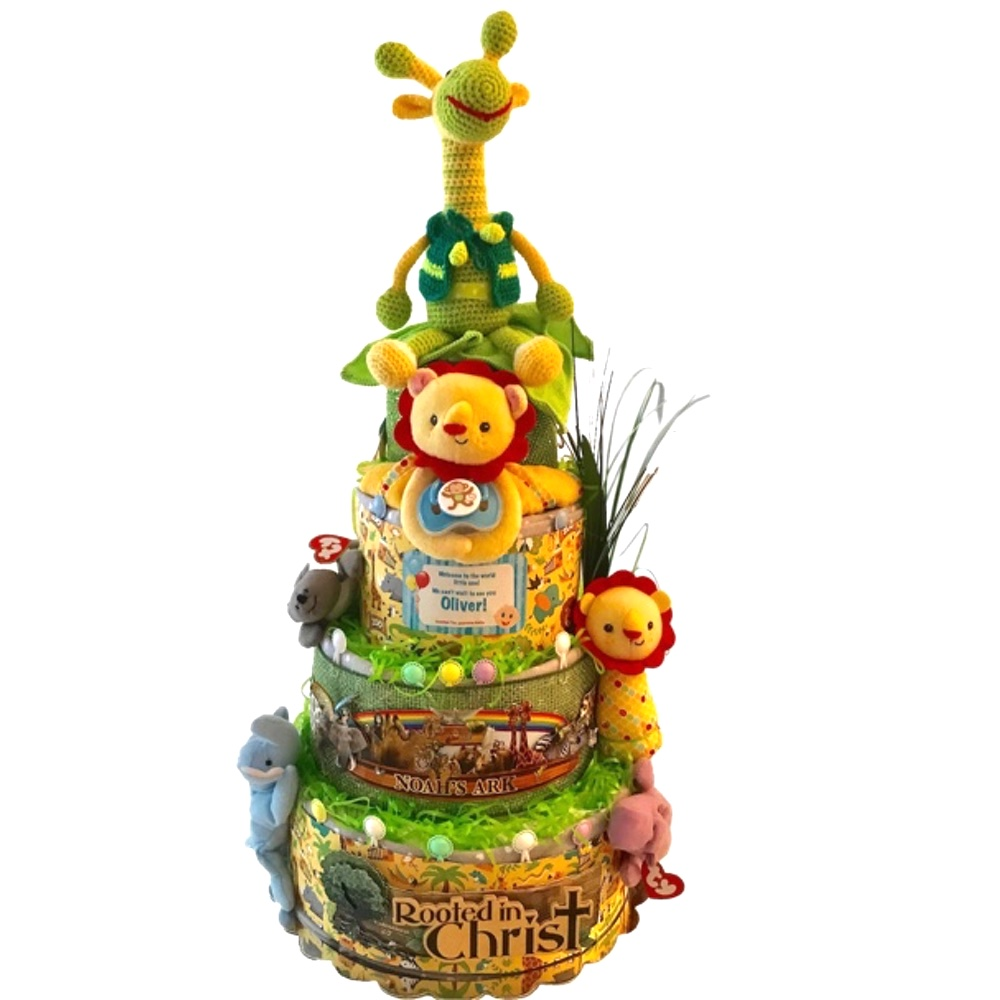 baby boy safari diaper cake