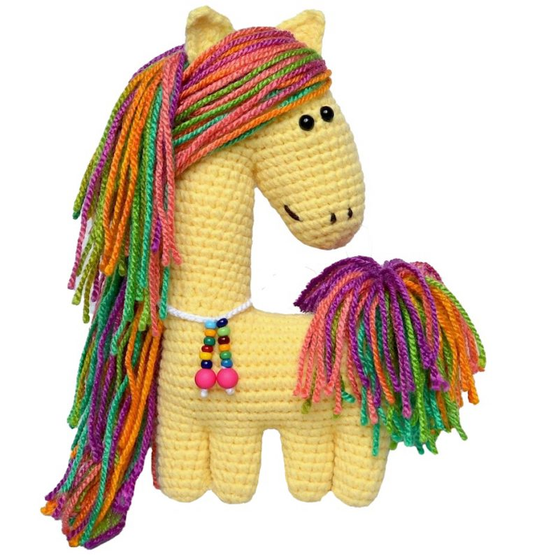 happy horse fancy baby crocheted stuffed animal