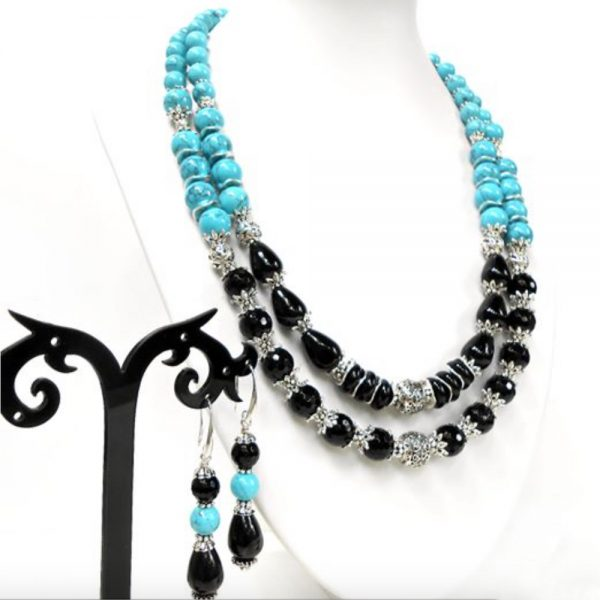 Womans gemstone black agate turquoise jewelry set
